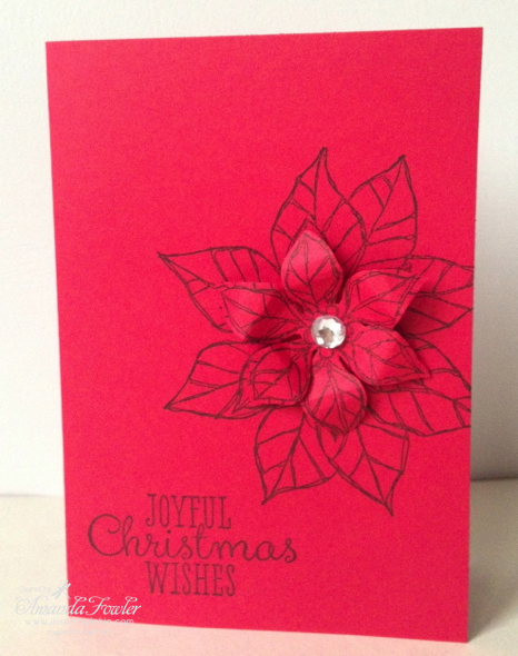 Quick Poinsettia Christmas Card