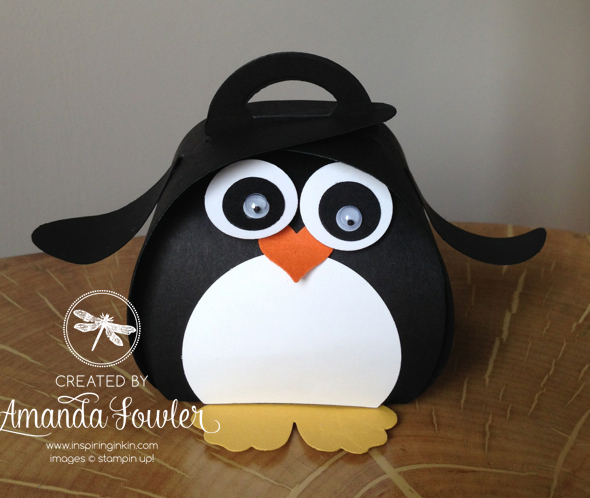 cute penguin made from stampin up curvy keepsake box