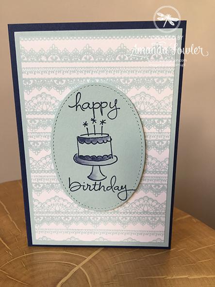 Delicate Details, Stampin'Up! UK, Spring Summer Catalogue 2017, Happy birthday card, SAB 2017, handstamped, Amanda Fowler, Inspiring Inkin', #inspiringinkin