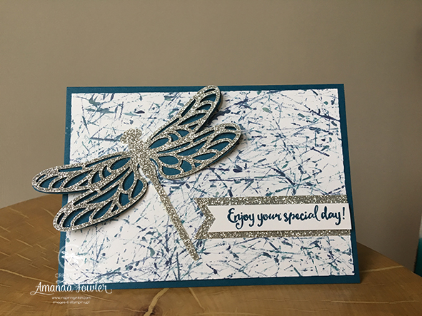 Stampin'Up! UK, Detailed Dragonfly Thinlits Dies, Dragonfly Dreams, Spring Summer Catalogue 2017, Happy birthday card, Background Technique, handstamped, #inspiringinkin
