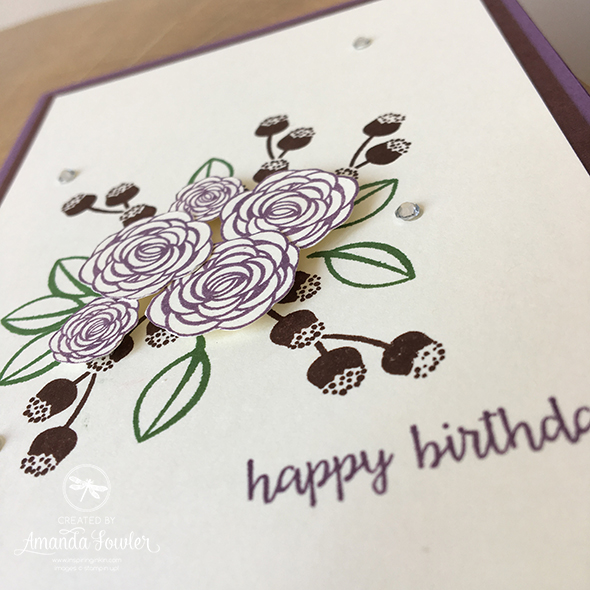 Happy Birthday Gorgeous Card, with fussy cut flowers by Amanda Fowler Inspiring Inkin' Stampin' Up! UK