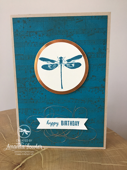 Awesomely Artistic Dragonfly Birthday Card Stampin' Up! UK Amanda Fowler Inspiring Inkin'