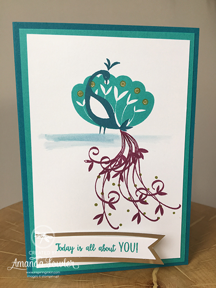 Beautiful Peacock Stampin' Up! UK Inspiring Inkin' Amanda Fowler Birthday Card