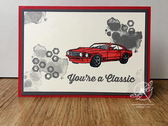 Geared Up Garage Car Card Stampin' Up! UK Amanda Fowler Inspiring Inkin'