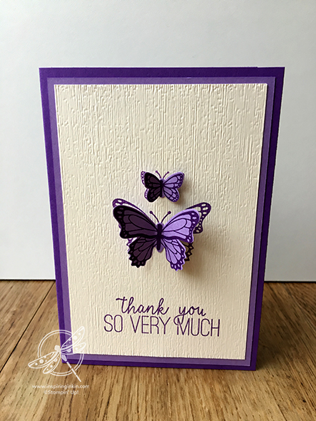 Butterfly Duet Thank you Card Stampin' Up! UK Inspiring Inkin' Amanda Fowler