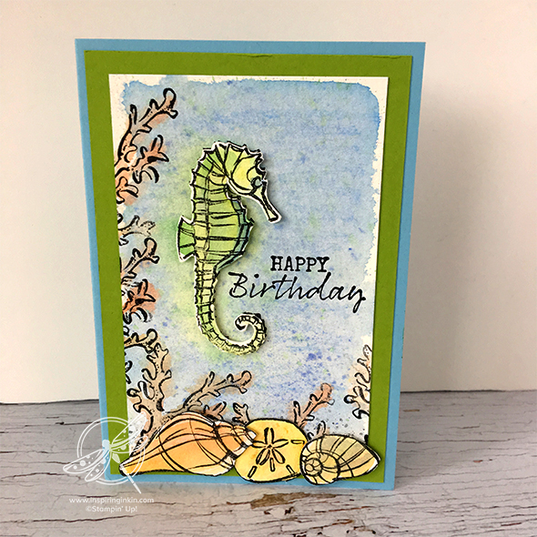 Water Colour Pencils Video and a seahorse birthday card.