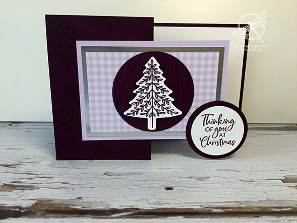 Purple Pretty in Plaid Christmas Card Stampin' Up! Uk Inspiring Inkin' Amanda Fowler