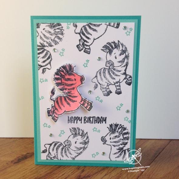 Zany Zebras Birthday CardStampin' Up UK Inspiring Inkin' Amanda Fowler